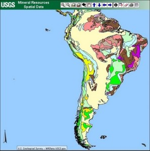 USGS Mineral Resources Data WEB GIS America del Sur